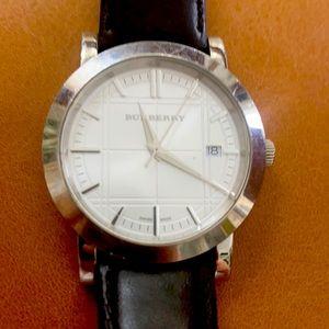 Vintage Burberry silver men's watch